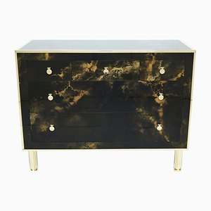 Lacquered Brass Chest of Drawers from Maison Jansen, 1970s