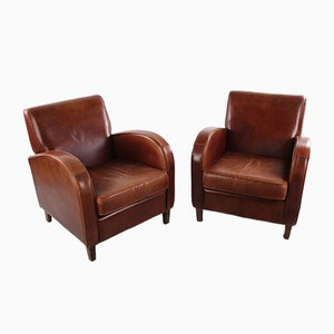 Sheep's Leather Wagon Wheel Club Armchairs, 1970s, Set of 2