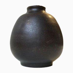 Scandinavian Black Tactile Ceramic Vase, 1970s
