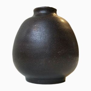 Vaso in ceramica tattile nera, Scandinavia, anni '70