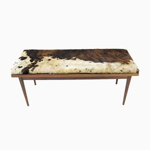 Scandinavian Wood Bench with Cowhide Seat, 1960s