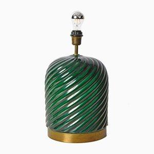 Italienische Grün Glasierte Keramik Tischlampe von Tommaso Barbi für B. Ceramiche, 1960er