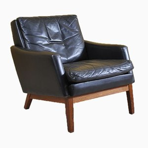 Danish Leather Lounge Chair & Ottoman, 1960s