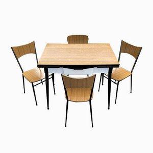 Italian Dining Table & 4 Chairs from Salvarani Depositato, 1950s, Set of 5