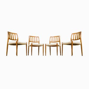 Danish Model 83 Teak Dining Chairs by Niels O. Møller for J.L. Møllers, 1960s, Set of 4