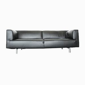 Vintage 250 Met Black Leather Sofa by Piero Lissoni for Cassina