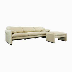3-Seater Maralunga Sofa & Footstool by Vico Magistretti for Cassina, Set of 2