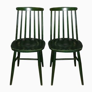 Mid-Century Tapiovaara Style Green Rung Dining Chairs, Set of 2