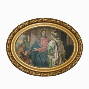 Large Oil Painting in Oval Stucco Frame, 1920s