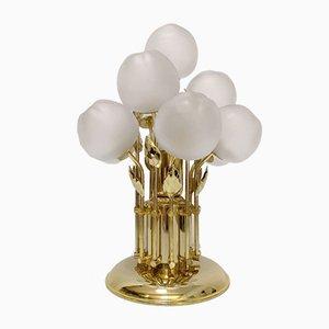 Apfel Tischlampe aus Kristallglas & Messing, 1970er