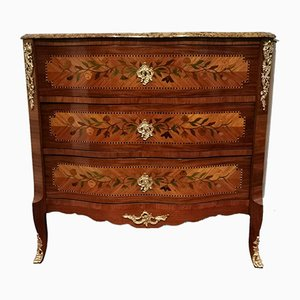 Antique Louis XV Style Rosewood Veneer Chest of Drawers with Floral Inlay