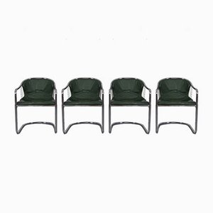 Italian Green Leather Cantilever Chairs by Willy Rizzo for Cidue, 1970s, Set of 4