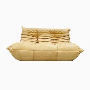 Vintage French Camel Leather 2-Seater Togo Sofa by Michel Ducaroy for Ligne Roset