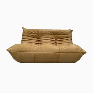 Vintage French Camel Leather 2-Seater Togo Sofa by Michel Ducaroy for Ligne Roset