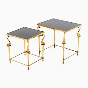 Mesas auxiliares Hollywood Regency de metal dorado, años 70. Juego de 2