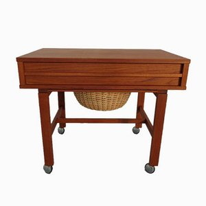 Danish Teak Sewing Table on Wheels, 1960s