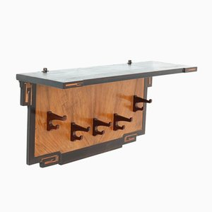 Art Deco Amsterdam School Walnut Coat Rack, 1920s
