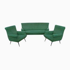 Geschwungenes Sofa & 2 Sessel mit Messingfüßen von Gigi Radice, 1960er, 3er Set