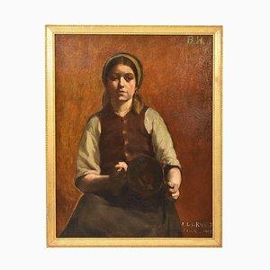 Retrato de mujer joven con jarrón de cobre, pintura al óleo, principios del siglo XX