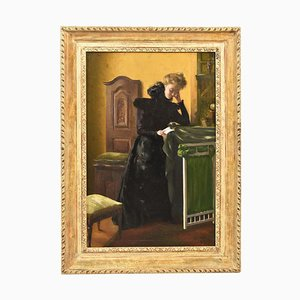 Woman Portrait Painting, Ölgemälde auf Leinwand, spätes 19. Jahrhundert