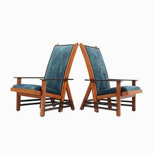 Art Deco Haagse School Oak Lounge Chairs by Dick van Luijn, 1920s, Set of 2