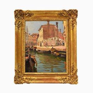 Pittura di paesaggio veneziano, olio su tela, XX secolo