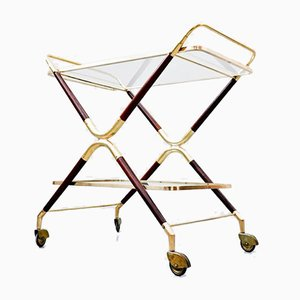 Italian Glass & Brass Trolley by Cesare Lacca, 1960s