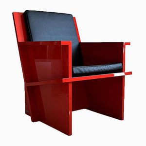 Dutch Modernist Red Lounge Chair by Ruud Franken, 2012