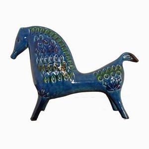Cavallo Rimini blu in ceramica di Aldo Londi per Bitossi, anni '60