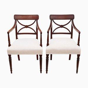 Regency Crossback Elbow / Carver / Desk Chairs, Circa 1825, Set of 2