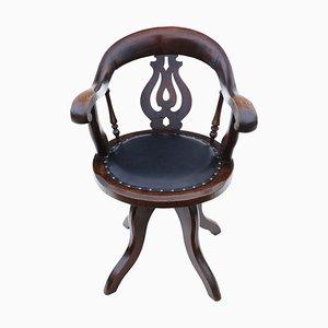 Chaise Pivotante Victorienne en Chêne et en Cuir, Circa 1880