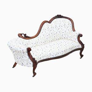 Chaise Longue o sofá victoriano de nogal tallado, década de 1870