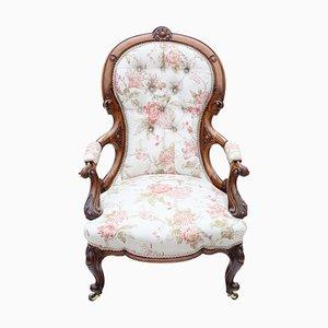 Victorian Walnut Spoonback Slipper Armchair, Circa 1880