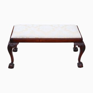 Carved Mahogany Double Stool or Window Seat, 1800s