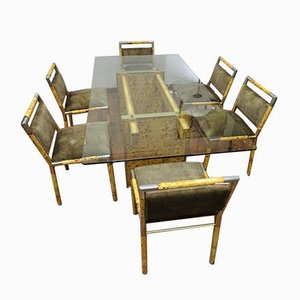 Dining Table & Chairs Set by Willy Rizzo, 1970s, Set of 7