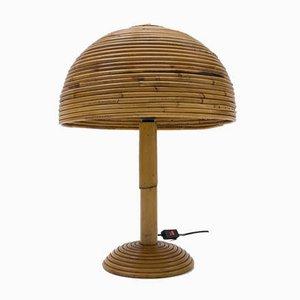 Lampe de Bureau Mid-Century Moderne en Rotin, 1960s