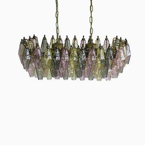 Vintage Multi-Colored Poliedri Murano Glass Chandelier
