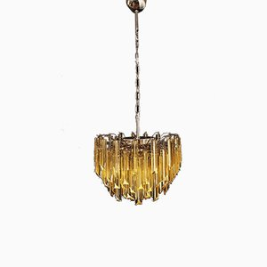 Clear Amber Triedri Murano Glass Chandelier, 1988