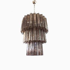 Großer 3-stufiger Rauch- Murano Glasröhren Kronleuchter, 1980er