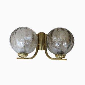 Doppelte Messing & Glas Wandlampen, 1960er, 2er Set
