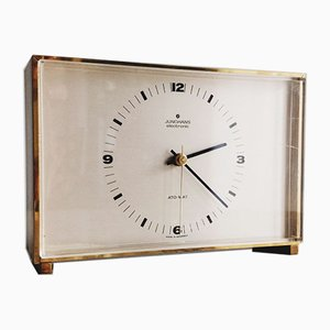 German Bauhaus Style Brass Desk Clock from Junghans, 1960s