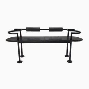 Postmodernist Italian Steel and Leather Bench by Cy Mann for Polflex, 1989