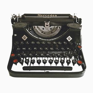 Prima Qwerty Typewriter with Original Case from Mercedes, 1930s