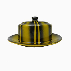Black & Yellow Enameled Butter Dish with Spray Decoration, 1920s