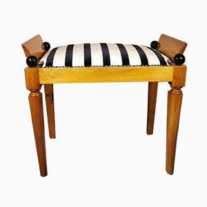Antique Danish Biedermeier Elm & Dedar Fabric Bench