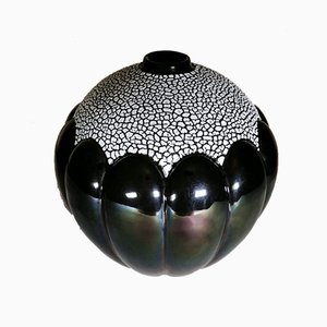 French Art Deco Glazed Ceramic Vase by Saint Clement, 1928