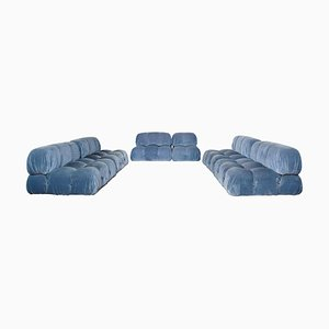Azure Corduroy Velvet Camaleonda Modular Sofa by Mario Bellini for B&B Italia / C&B Italia, 1976, Set of 6