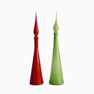 Hohe toskanische Karaffen aus handgeblasenem Glas von Empoli, 1960er, 2er Set