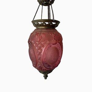 Antike Deckenlampe aus rosa Glas von Baccarat