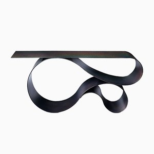 Whorl Console in Black Iridescent Powder Coated Aluminum by Neal Aronowitz